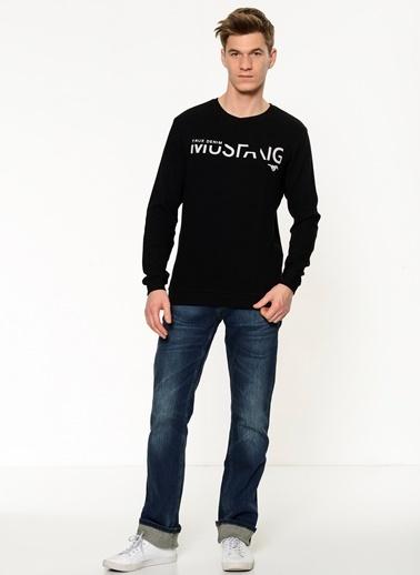 Baskılı Bisiklet Yaka Sweatshirt-Mustang